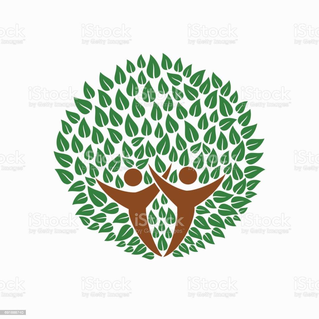 Green tree people symbol for community team help vector art illustration
