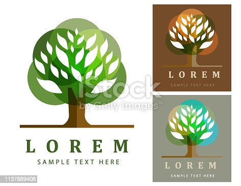 Vector of green tree symbol on color background. EPS AI 10 file format.