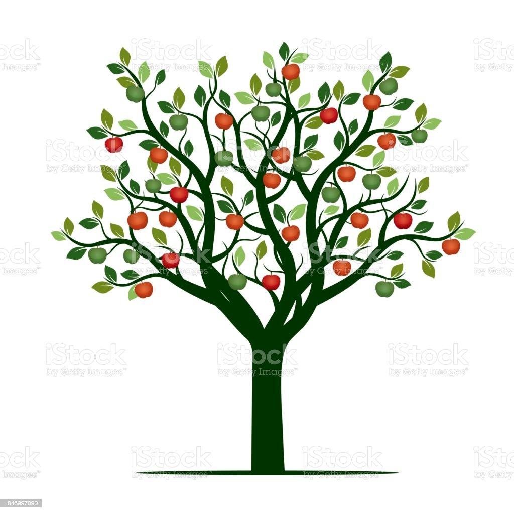 Green Tree with red Apples. Vector Illustration. vector art illustration