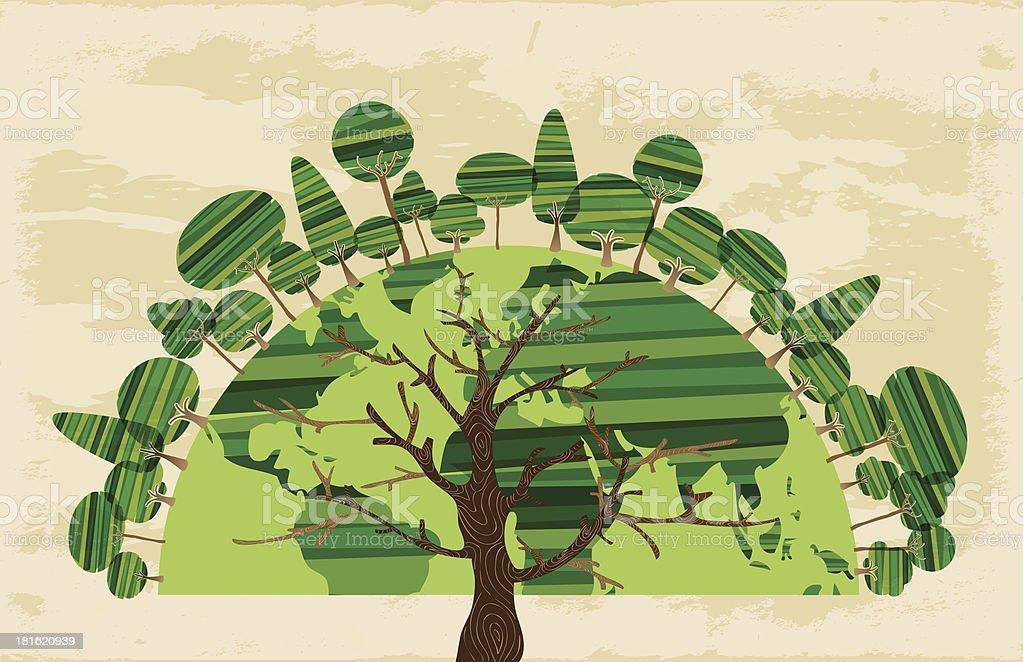 Green tree World royalty-free stock vector art