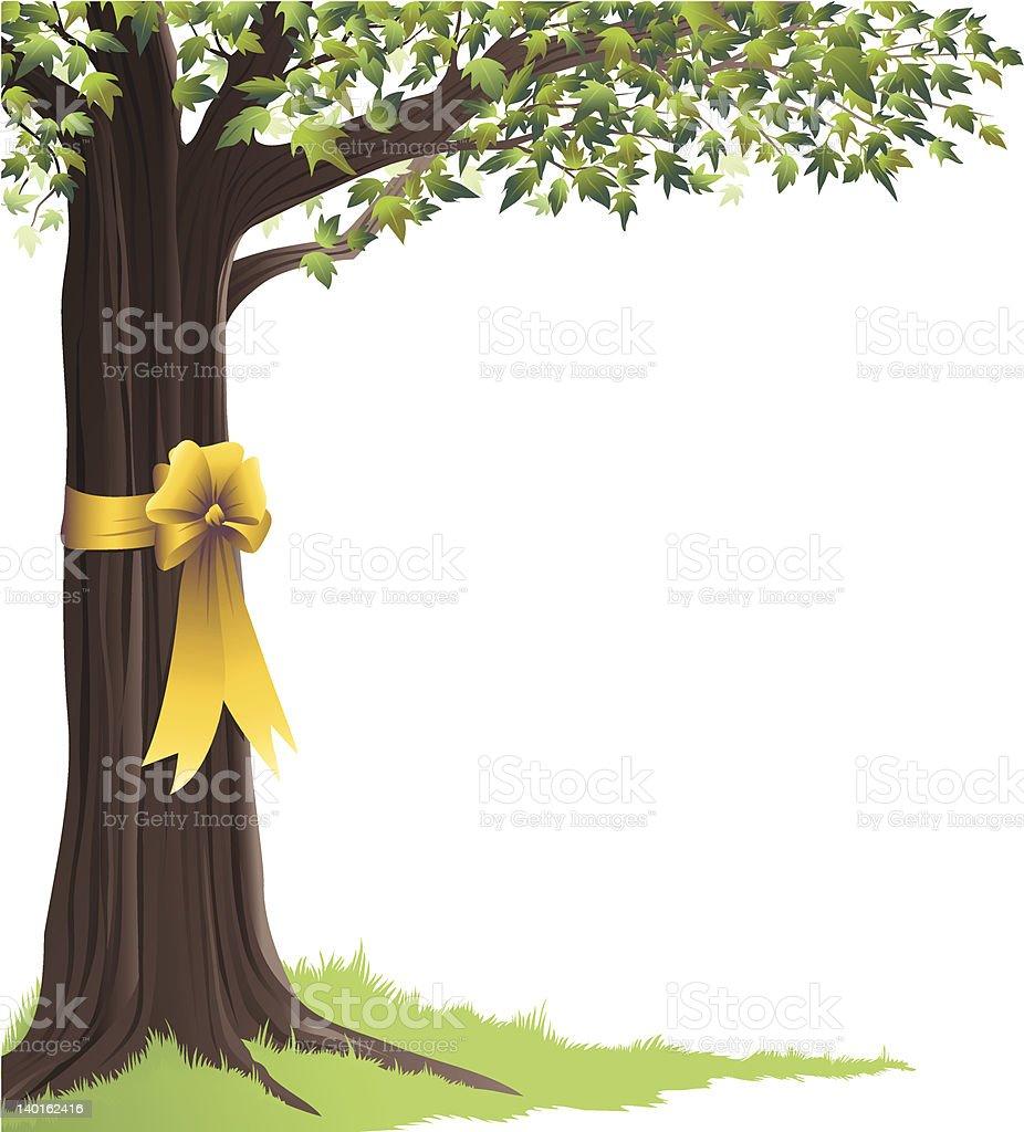 Green Tree Yellow Ribbon royalty-free stock vector art