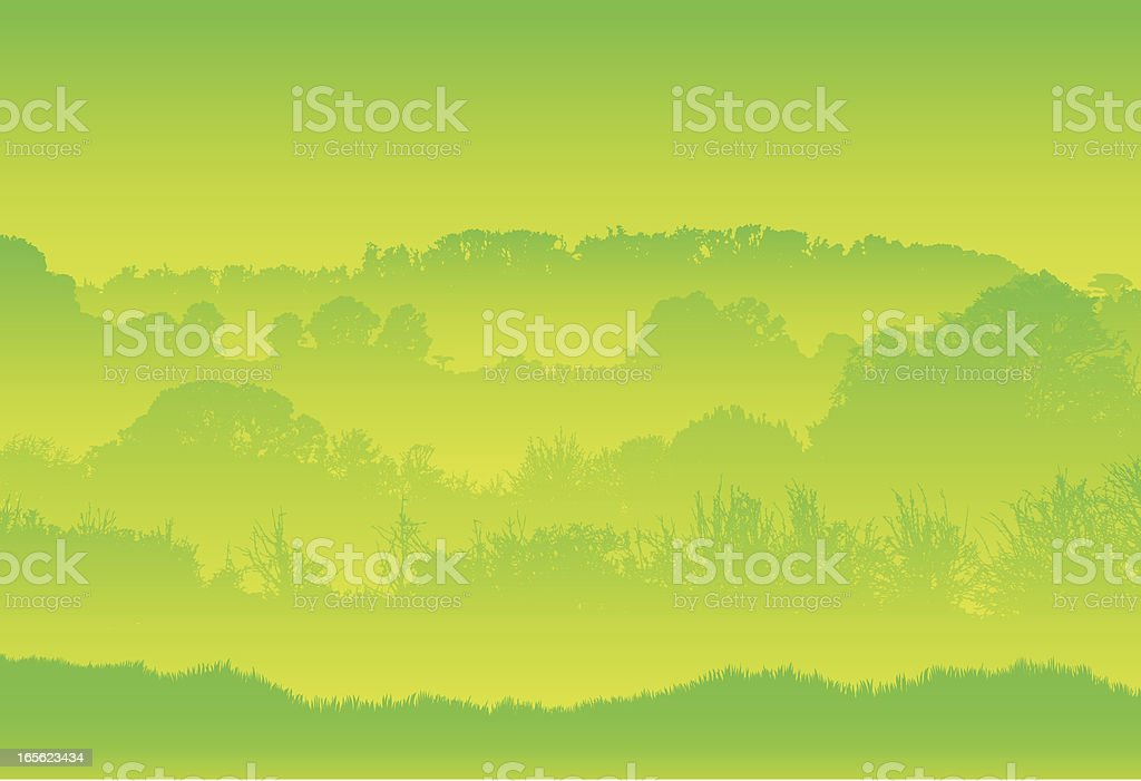 Green trees in a country landscape royalty-free stock vector art