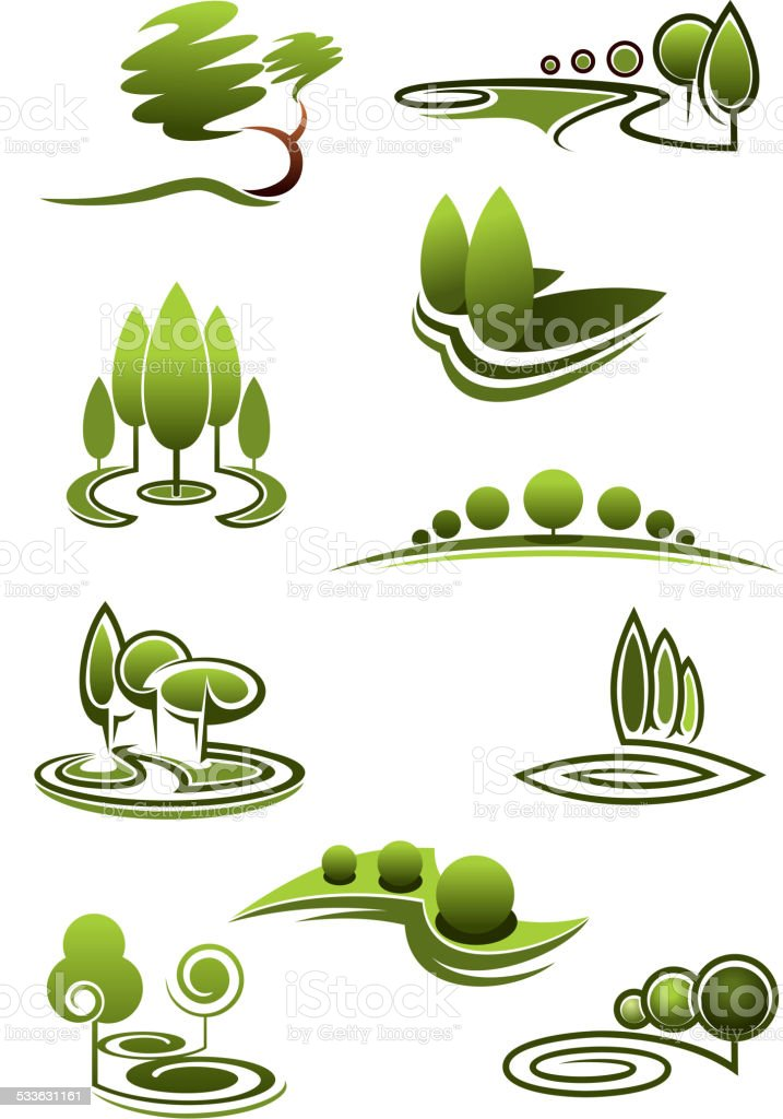 Green trees in landscapes icons vector art illustration