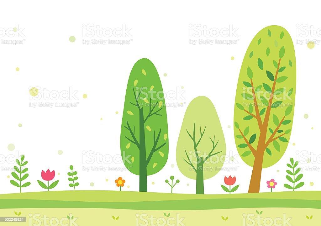 Green trees vector art illustration