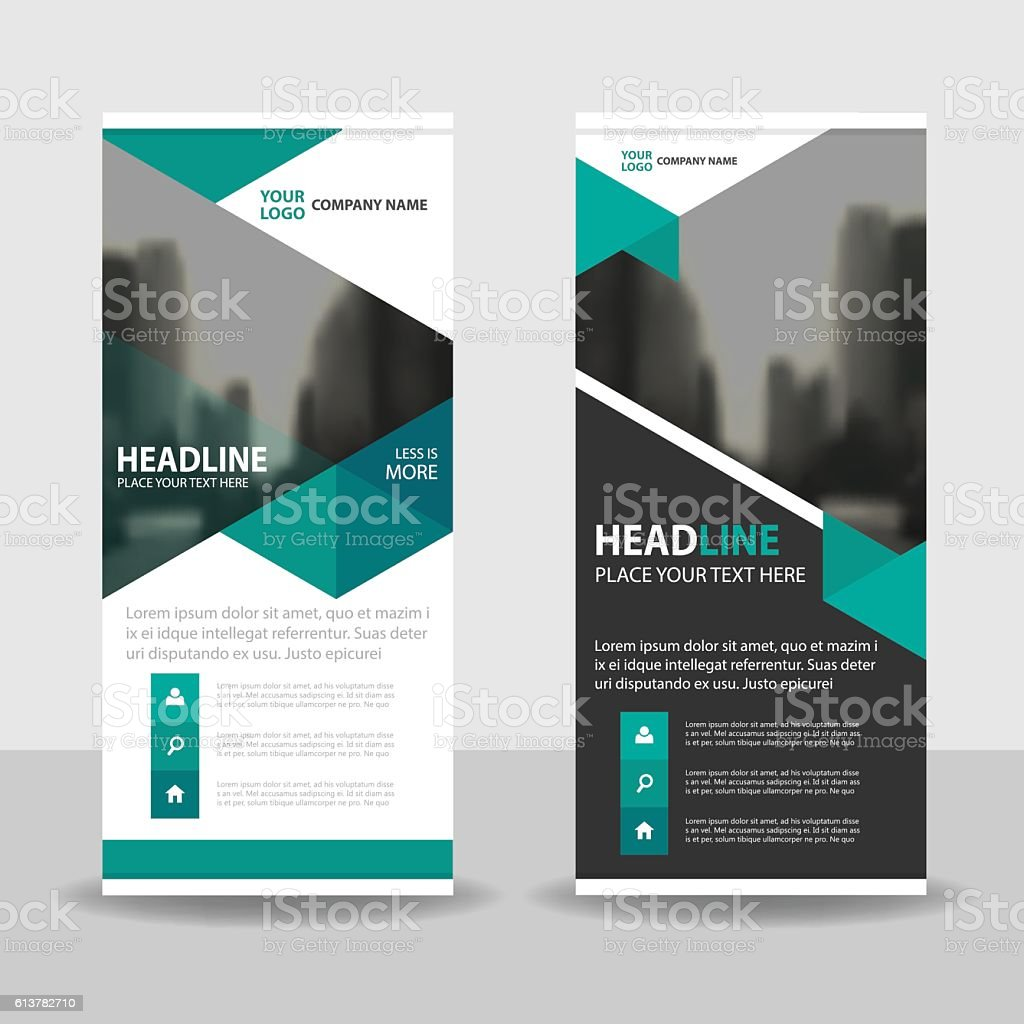 Green Triangle Business Roll Up Banner flat design template Abstract vector art illustration