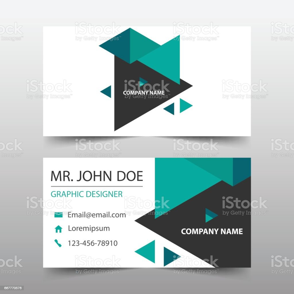 Ilustrao de green triangle corporate business card name card green triangle corporate business card name card template horizontal simple ilustrao de green triangle reheart Gallery