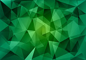 Triangles background. Green vector abstract pattern.