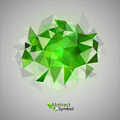 Green triangles as abstract symbol on the gray background.