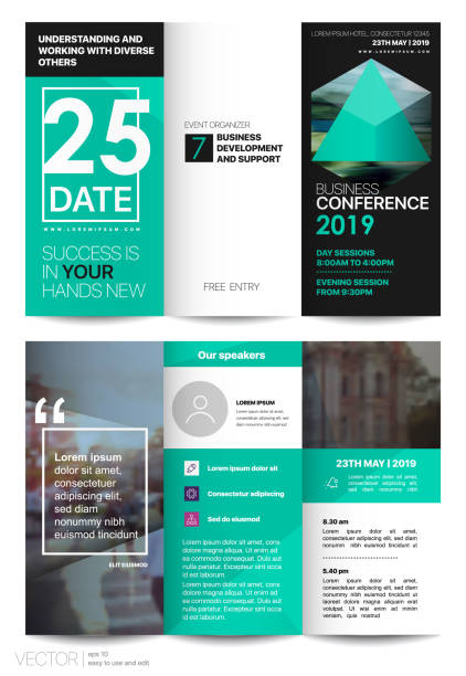 green tri-fold business brochure leaflet flyer - office party stock illustrations, clip art, cartoons, & icons
