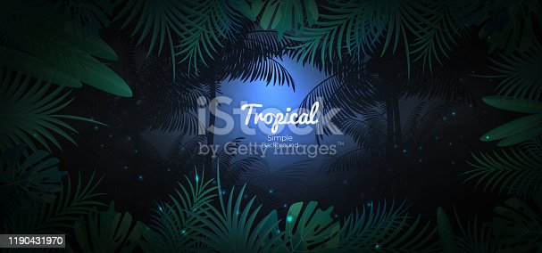 istock Green tropical floral background in dark jungle scene background 1190431970