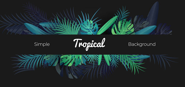 Green tropical floral banner on black background