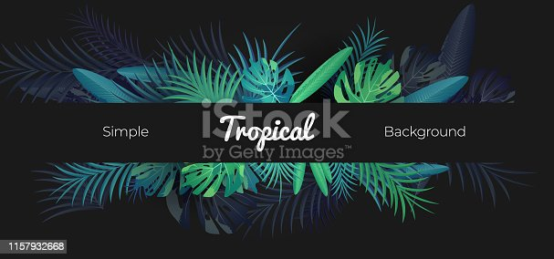 Green tropical floral banner on black background