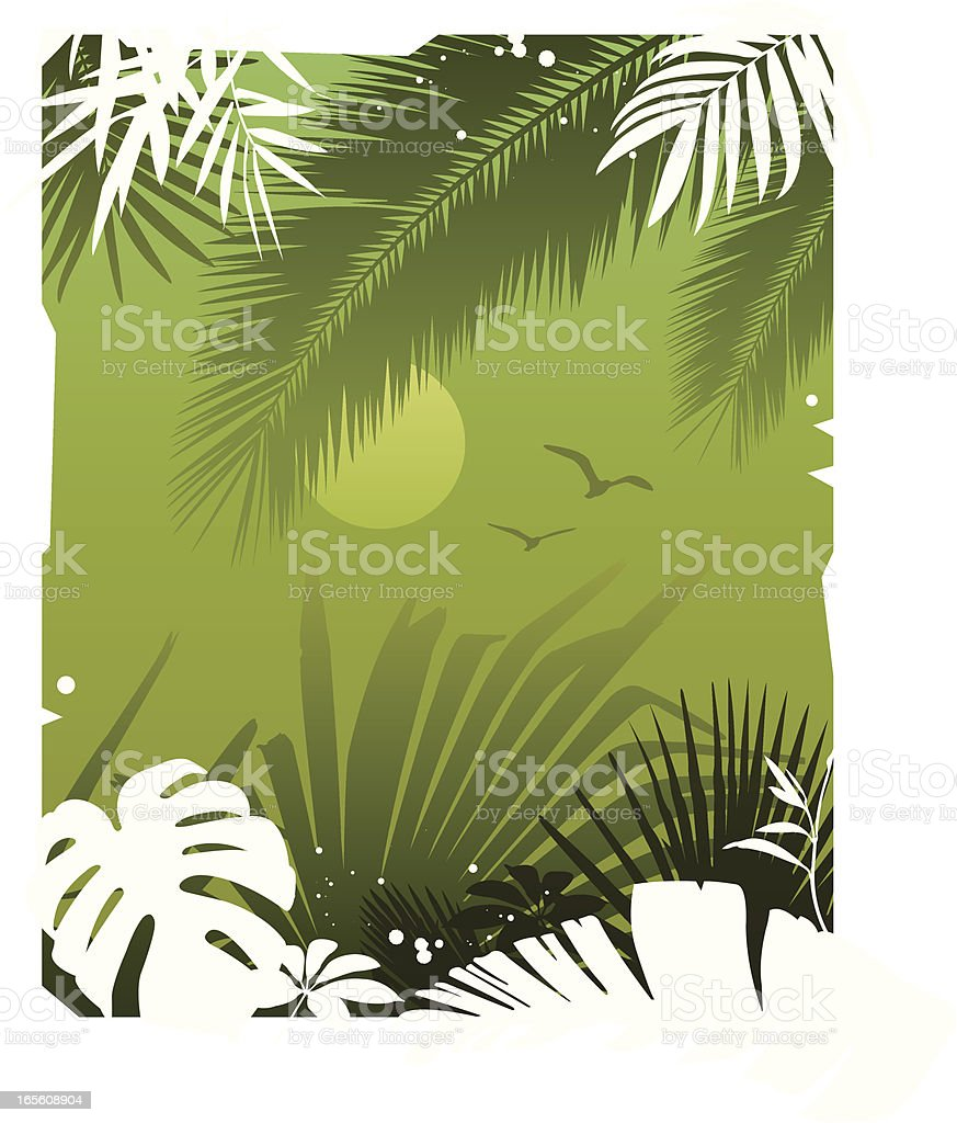 Green tropical garden background royalty-free stock vector art