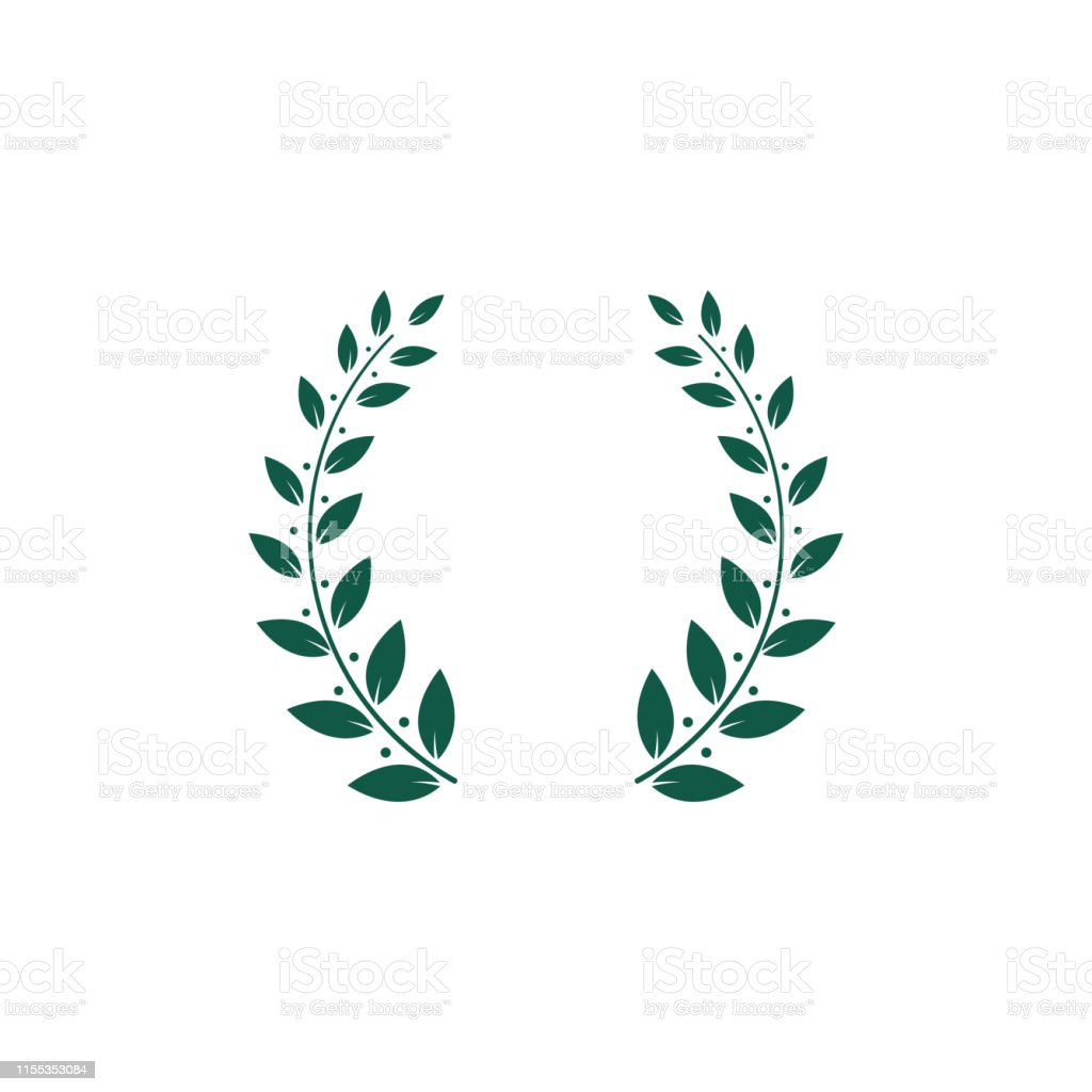 Green two branches laurel foliate or olive wreath or decorative frame...
