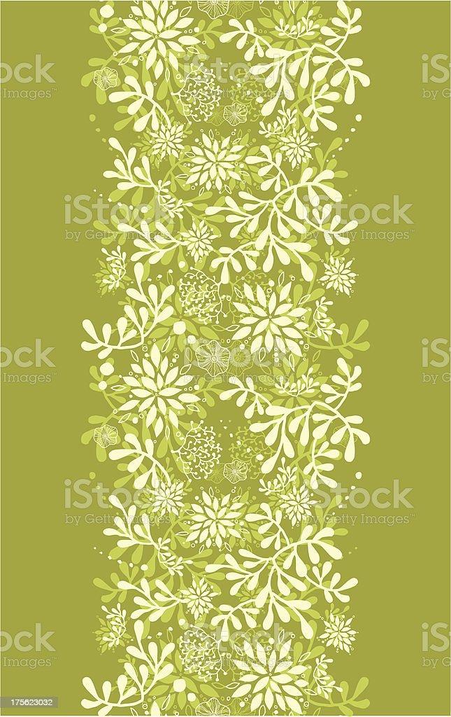 Green underwater plants vertical seamless pattern background border vector art illustration