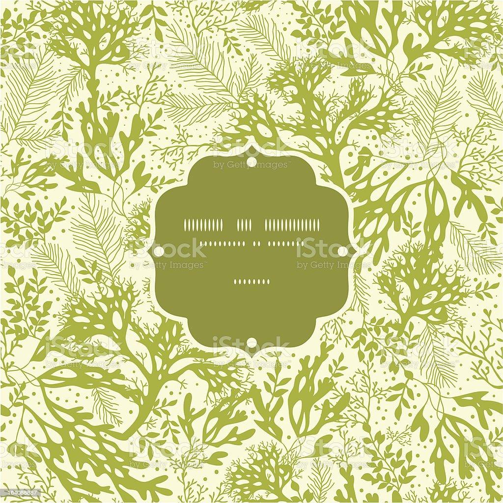 Green underwater seaweed frame seamless pattern background vector art illustration
