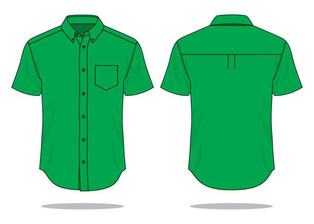 stockillustraties, clipart, cartoons en iconen met groen uniform shirt vector voor sjabloon - korte mouwen