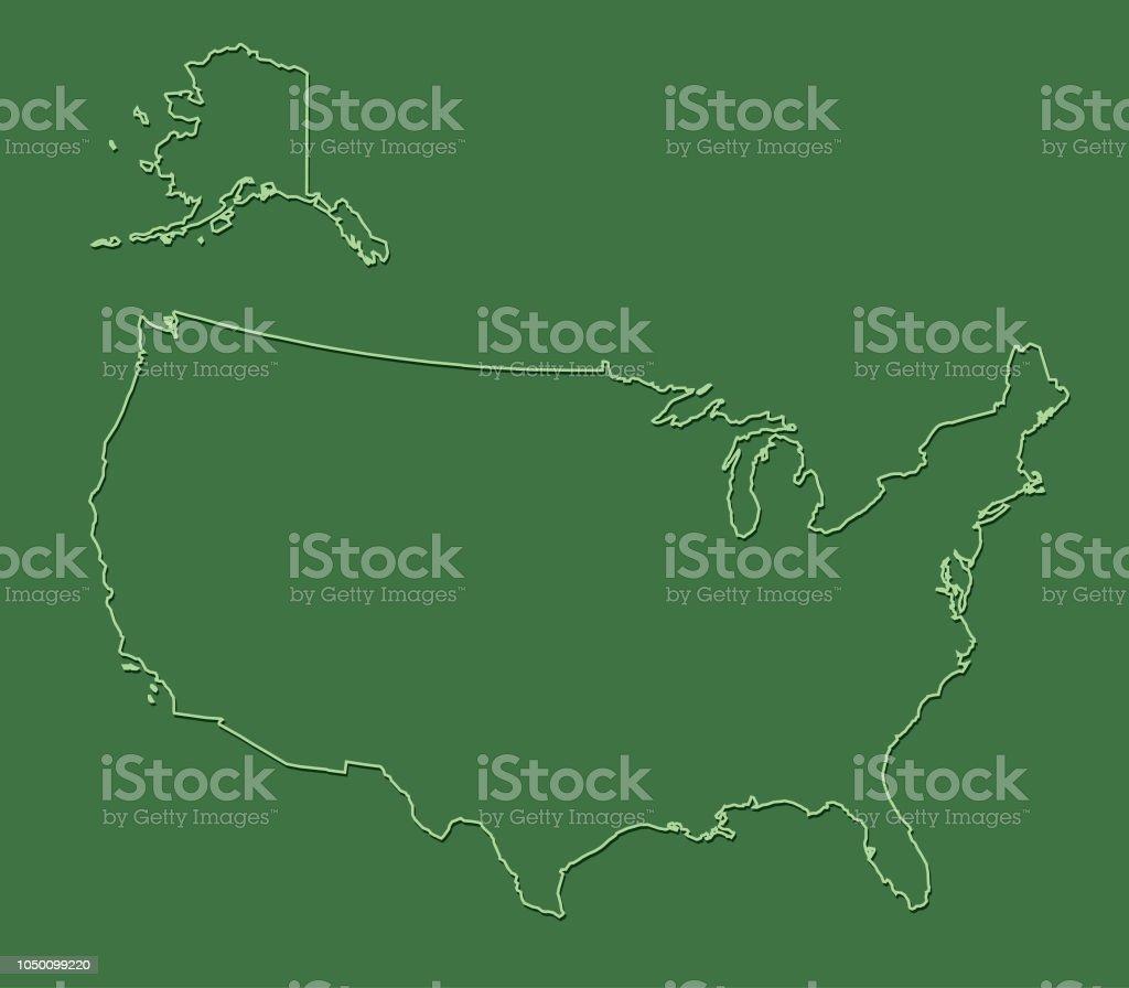 Usa Karte Ohne Staaten.Grünen Vereinigte Staaten Von Amerikakarte Mit Linien Ohne