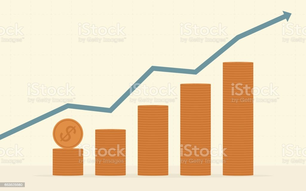 green upward arrow with stack of dollar coin vector art illustration