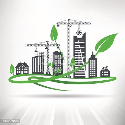 Cityscape with ongoing construction surrounded by green leaves. Fully scalable vector illustration.