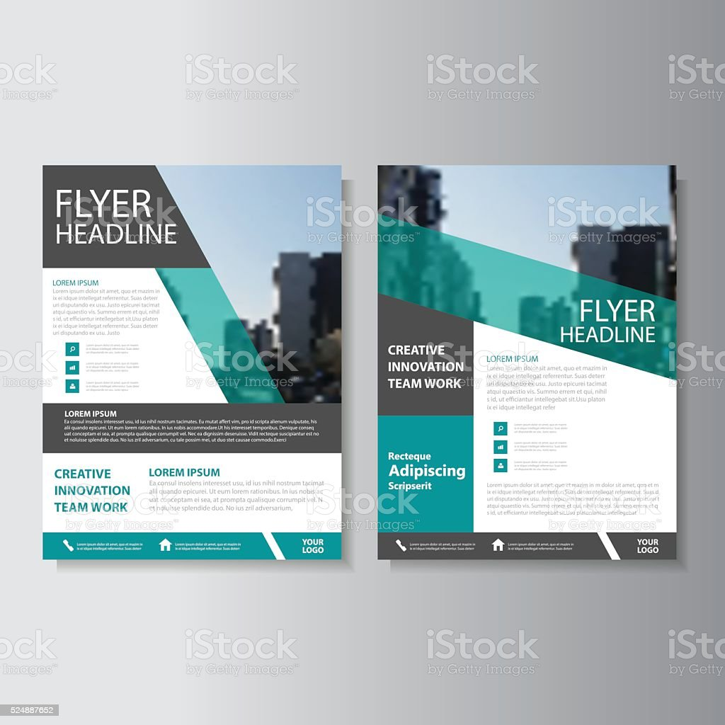 Green Vector Annual Report Leaflet Brochure Flyer Template Design - Brochure template ideas