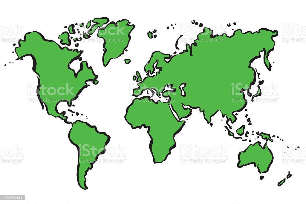 Mapa Del Mundo Para Dibujar: Ilustración De Green Vector Dibujo Mapa Del Mundo Y Más
