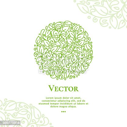 Green vector leaves emblem in shape of circle. Can be used for jewelry, beauty and fashion industry.
