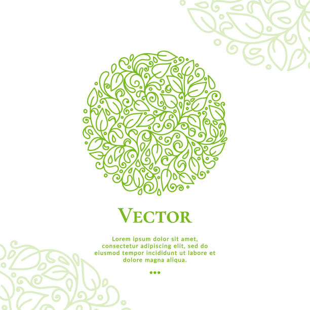 Green vector leaves emblem in shape of circle. Can be used for jewelry, beauty and fashion industry. Elegant, classic elements. Great for logo, monogram, invitation, flyer, menu, brochure, postcard, background, or any desired idea. natural pattern stock illustrations