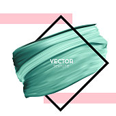 Green vector paint brush smear on white background. Template female girly emblem design.