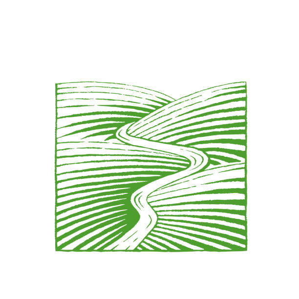 Green Vectorized Ink Sketch of Hills and River Illustration Illustration of Green Vectorized Ink Sketch of Hills and River isolated on a White Background valley stock illustrations