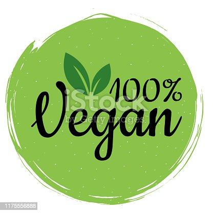 istock Green vegan logo. Healthy food sign, eco, bio, label for cafe, packaging and food. 100% vegan label for your advertising. Organic design template 1175556888