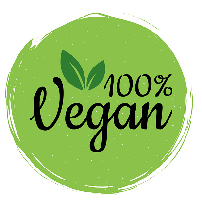 Green vegan logo. Healthy food sign, eco, bio, label for cafe, packaging and food. 100% vegan label for your advertising. Organic design template