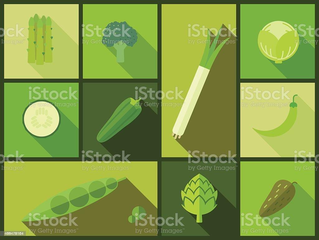 Green vegetable icons vector illustration. vector art illustration