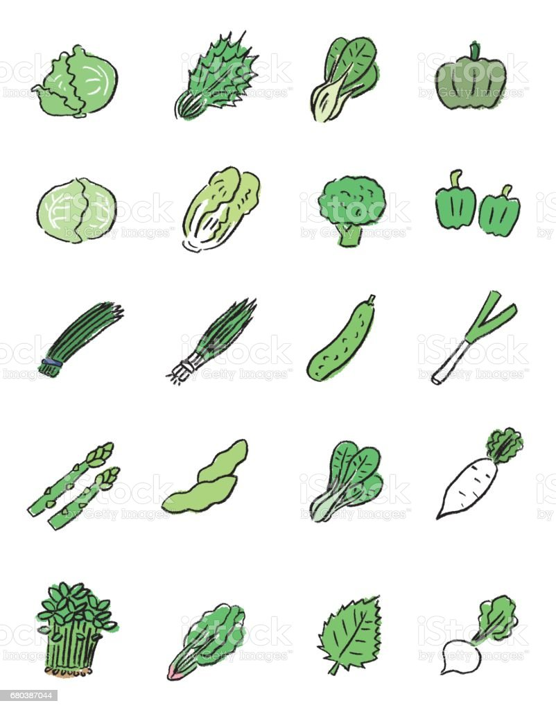 green vegetables icon vector art illustration