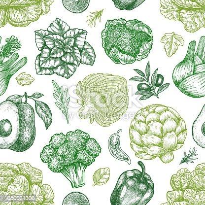 Green vegetables seamless pattern. Handsketched vintage vegetables. Line art illustration.
