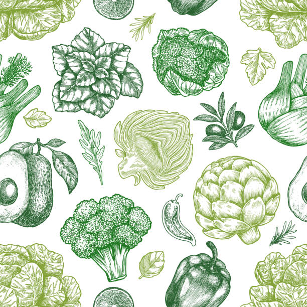 Green vegetables seamless pattern. Handsketched vintage vegetables. Line art illustration. Vector illustration Green vegetables seamless pattern. Handsketched vintage vegetables. Line art illustration. avocado patterns stock illustrations