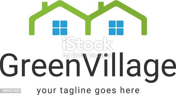 Green Village Logo Template Stock Vector Art & More Images of Abstract 596337800