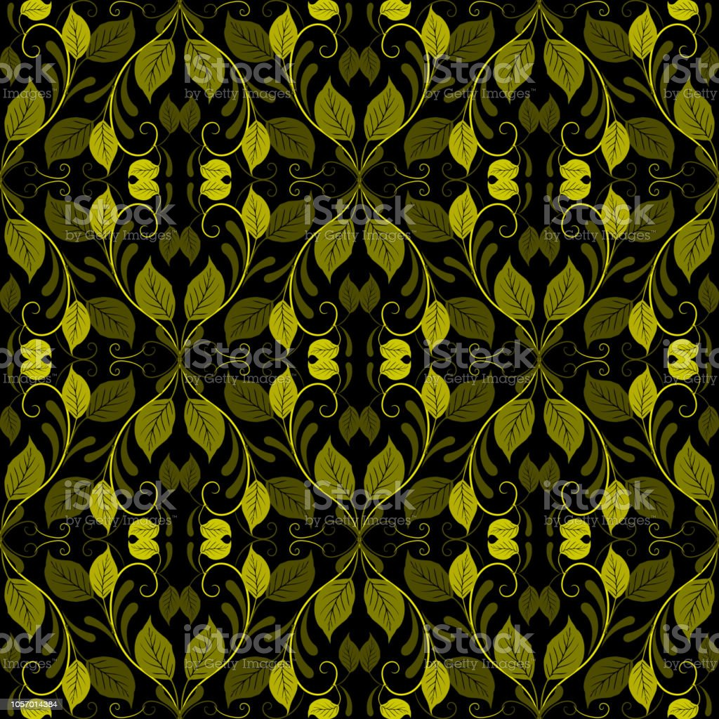 Green vintage leaves vector seamless pattern. Ornamental foliage...