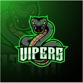 Illustration of Green viper snake mascot logo design