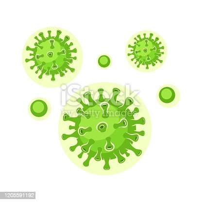 Green virus cells. Viruses in infected organism, viral disease epidemic. Corona, influenza viruses. Healthcare and medicine concept. Vector illustration.
