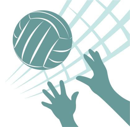 Green volleyball and hand of a man