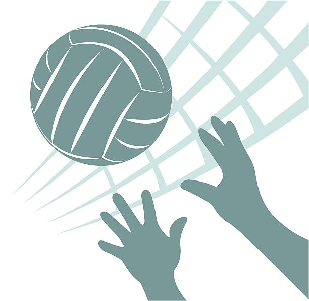 Green volleyball and hand of a man vector art illustration