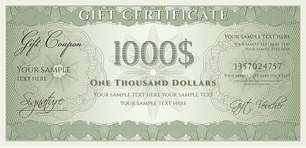 A green voucher or coupon for one thousand dollars Download include blank (clear note) JPEG file (without text) banking borders stock illustrations