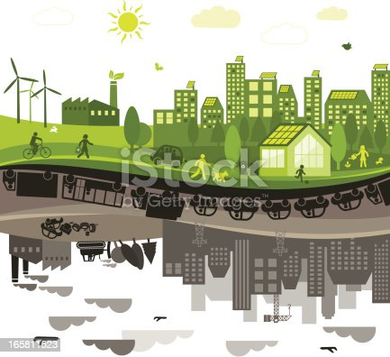 View of a green city versus a polluted city