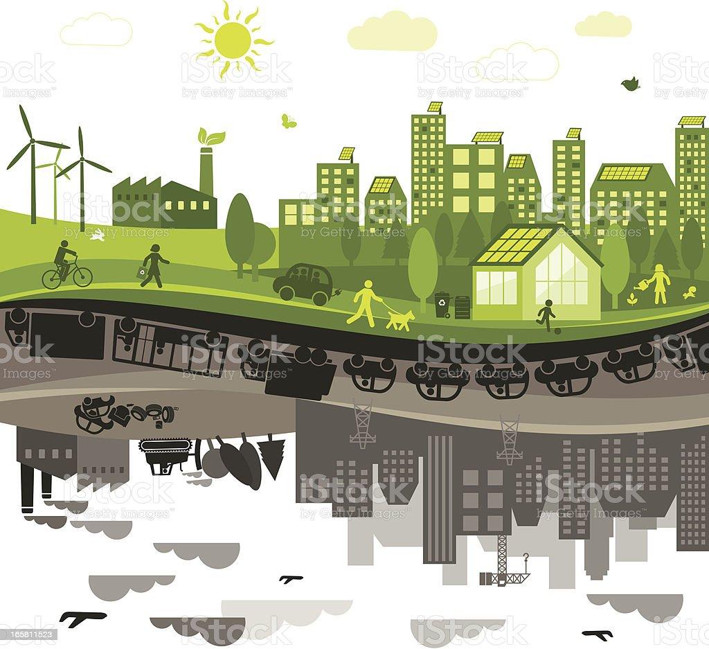 Green Vs. Polluted City vector art illustration
