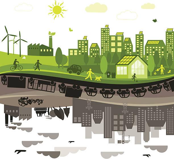 illustrazioni stock, clip art, cartoni animati e icone di tendenza di verde vs. città inquinata - composting