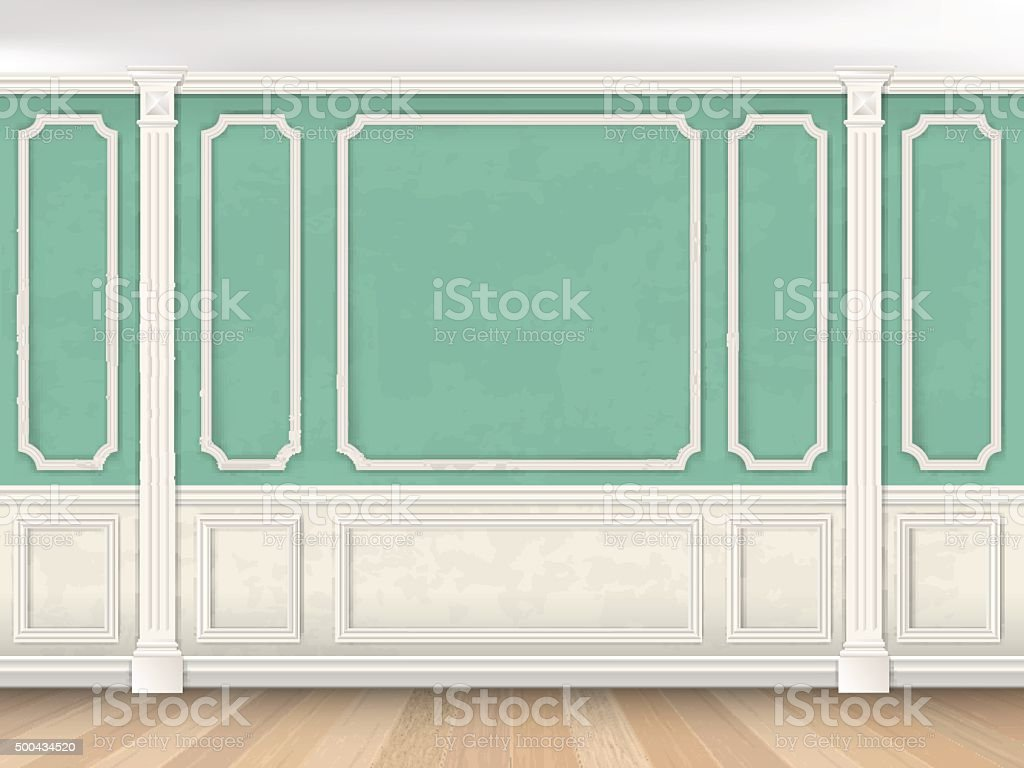 Green wall with pilasters vector art illustration