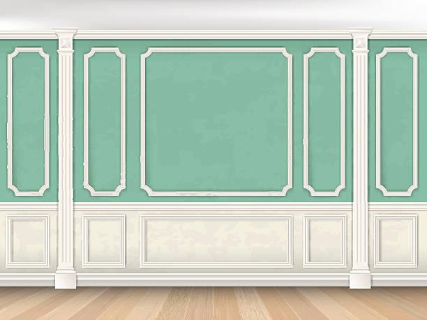 зеленая стена с pilasters - карниз stock illustrations