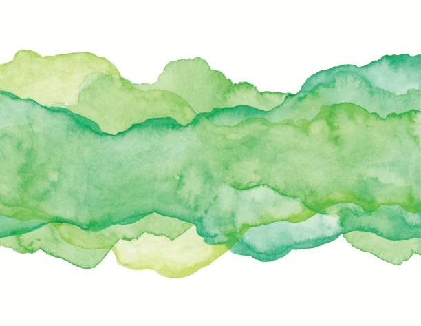 illustrazioni stock, clip art, cartoni animati e icone di tendenza di green watercolor abstract - verde