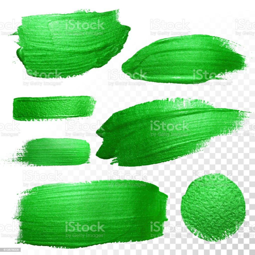 Green watercolor brush strokes. Vector oil paint smear. Polish trace. vector art illustration